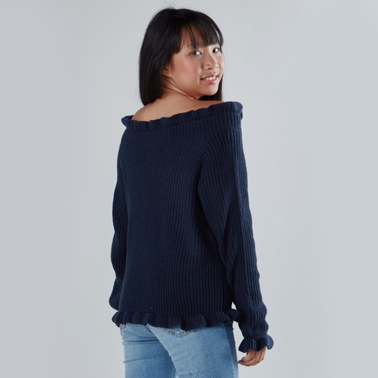 Off-Shoulder Sweater with Long Sleeves