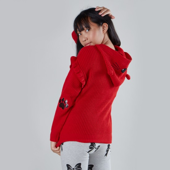 Cat Printed Sweater with Hood and Long Sleeves