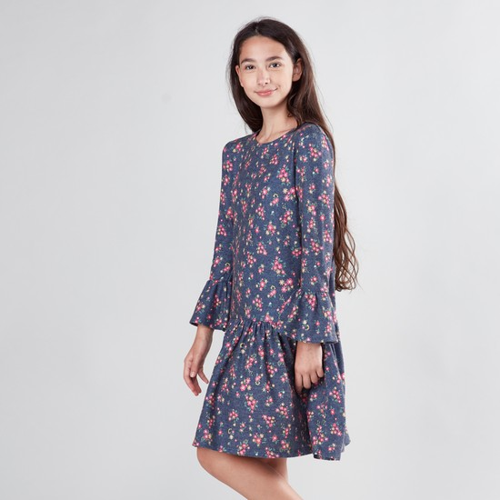 Floral Print Drop-Waist Dress with Bell Sleeves