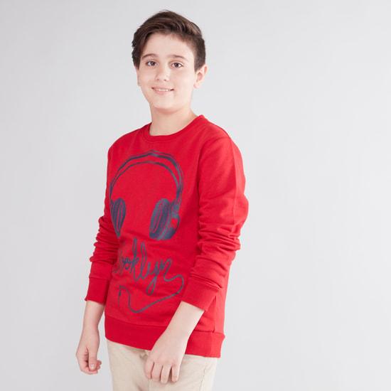 Graphic Print Sweatshirt with Long Sleeves