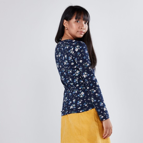 Floral Printed T-shirt with Round Neck and Long Sleeves