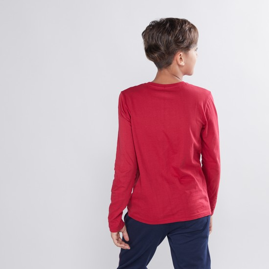 Solid T-shirt with Henley Neck and Long Sleeves