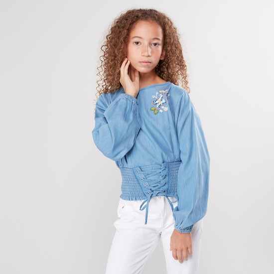 Denim Top with Round Neck and Bishop Sleeves