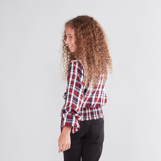 Chequered Top with Bishop Sleeves and Smock Hem