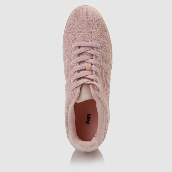 Textured Lace-Up Sneakers