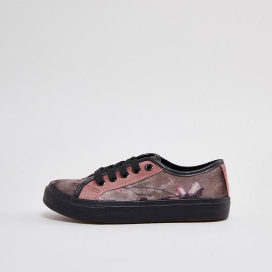 Printed Canvas Shoes with Lace Up Closure