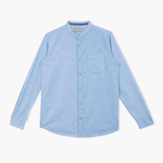 Shirt with Long Sleeves and Mandarin Collar