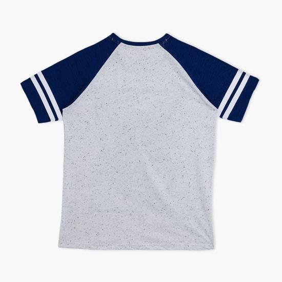 Printed Round Neck Raglan Sleeves T-Shirt
