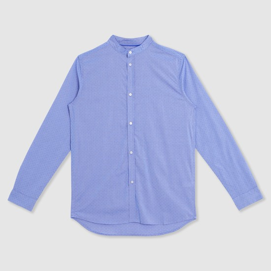 Long Sleeves Mandarin Collar Shirt