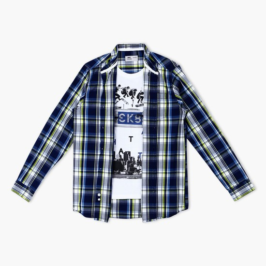 Printed Long Sleeves Shirt with Mock T-Shirt Insert