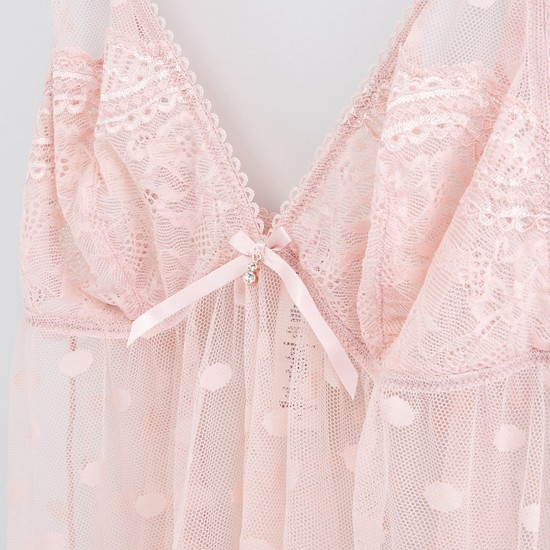 Lace and Bow Detail Babydoll with Thongs