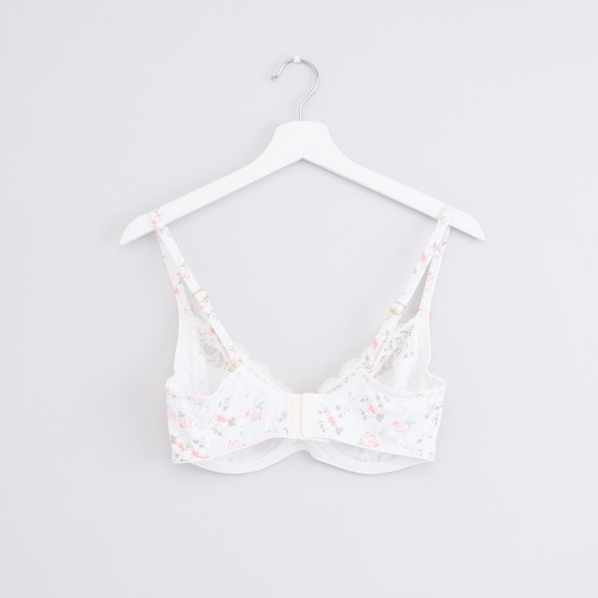 Lace Detail Bra with Hook and Eye Closure and Adjustable Straps