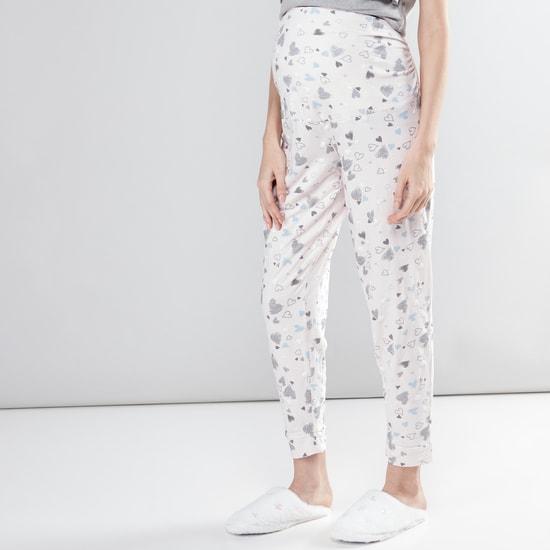 Maternity Printed T-Shirt and Pyjama Set