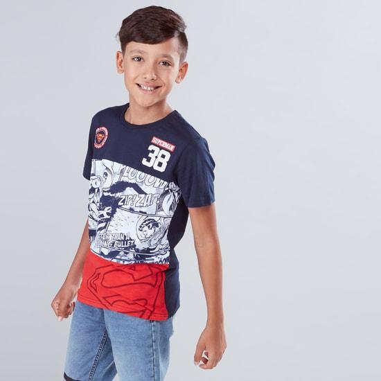 Superman Printed Round Neck Short Sleeves T-Shirt