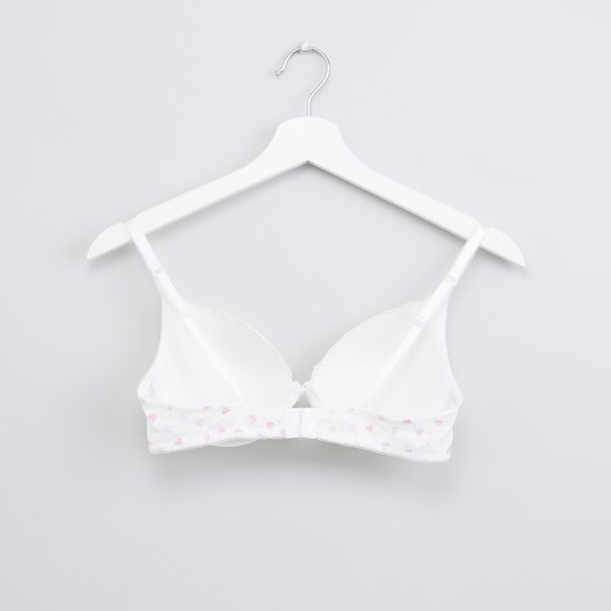 Printed Padded T-Shirt Bra with Hook and Eye Closure