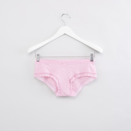 Lace Detail Hipster Briefs with Elasticised Waistband