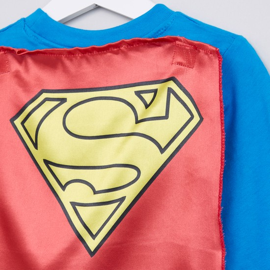 Superman Printed Long Sleeves Cape T-Shirt with Jog Pants