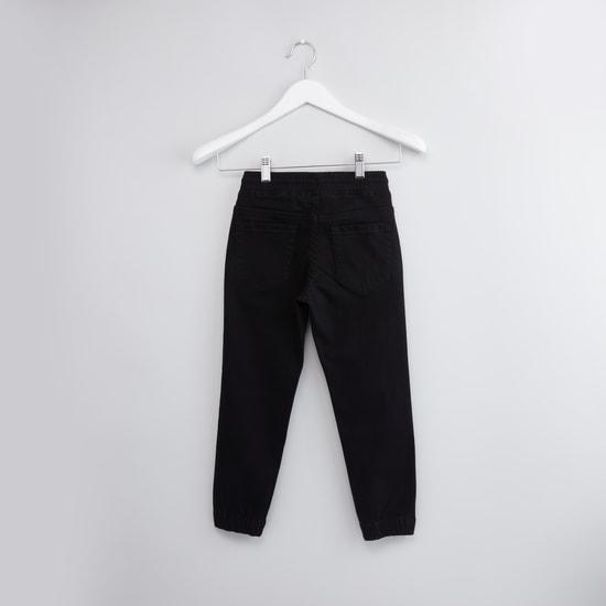 Plain Denim Jog Pants with Pocket Detail and Drawstring