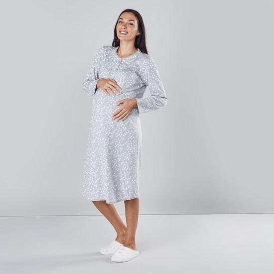 Maternity Printed Sleep Dress with Long Sleeves