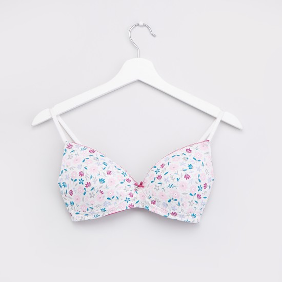 Set of 2 - Printed and Solid T-shirt Bra