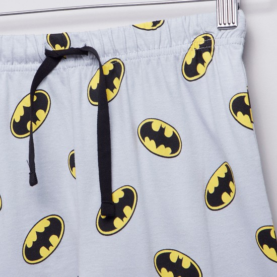 Batman Printed Round Neck T-shirt with Full Length Jog Pants