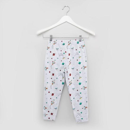 Printed T-shirt and Pyjamas with Elasticated Waistband