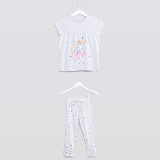 Graphic Printed Round Neck T-shirt and Pyjama Set