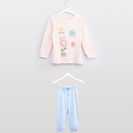 Printed Long Sleeves T-shirt with Polka Dot Jog Pants