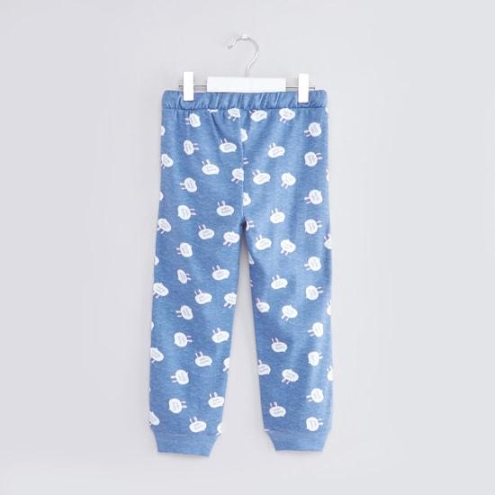 Printed Round Neck T-shirt and Jog Pants Set