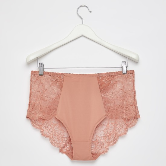 Solid Full Briefs with Lace Detail and Elasticated Waistband