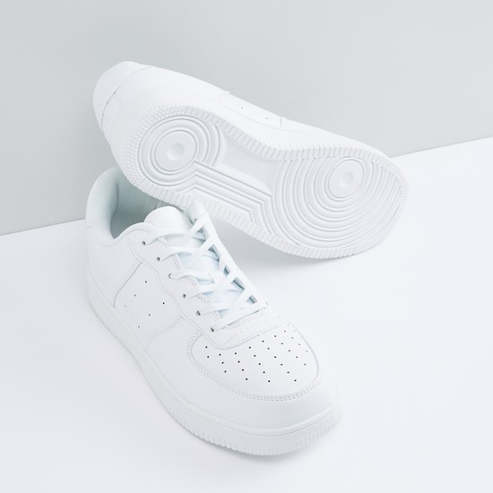 Perforated Lace-Up Sports Shoes