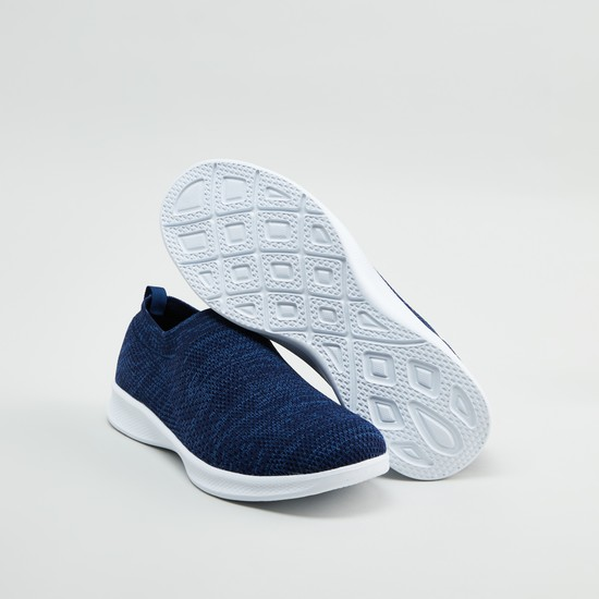 Textured Slip-On Sports Shoes with Pull Tab and Ribbed Collar