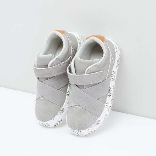 Stitch Detail Shoes with Hook and Loop Closure