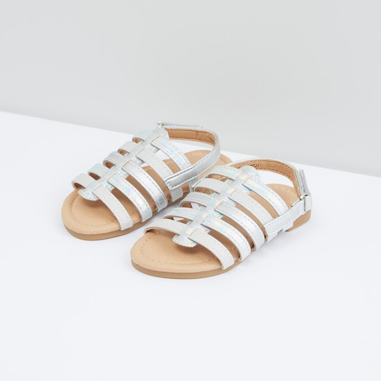 Strappy Sandals with Hook and Loop Closure
