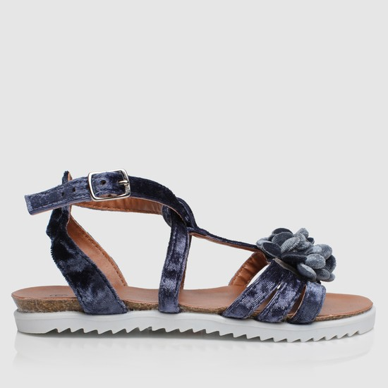 Floral Strap Sandals with Buckles