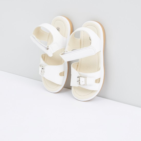 Pin Buckle Detail Sandals with Hook and Loop Closure