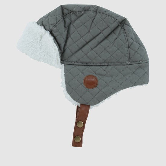 Quilted Beanie Cap with Ear Flap