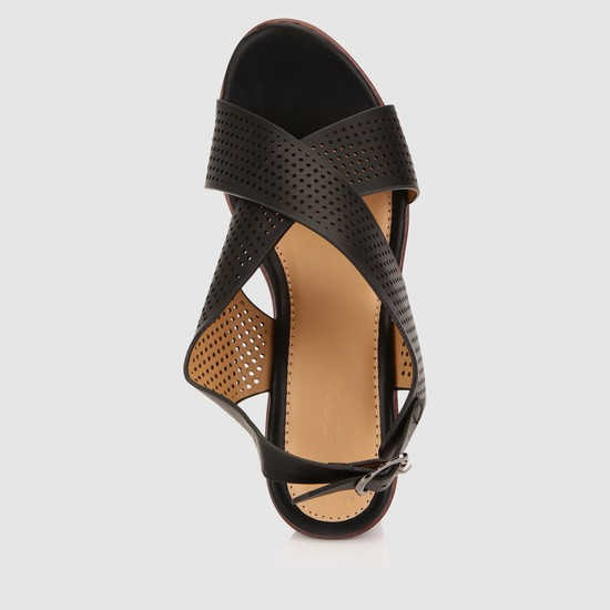 Laser Cut Detail Cross Strap Wedge Sandals with Buckle Closure