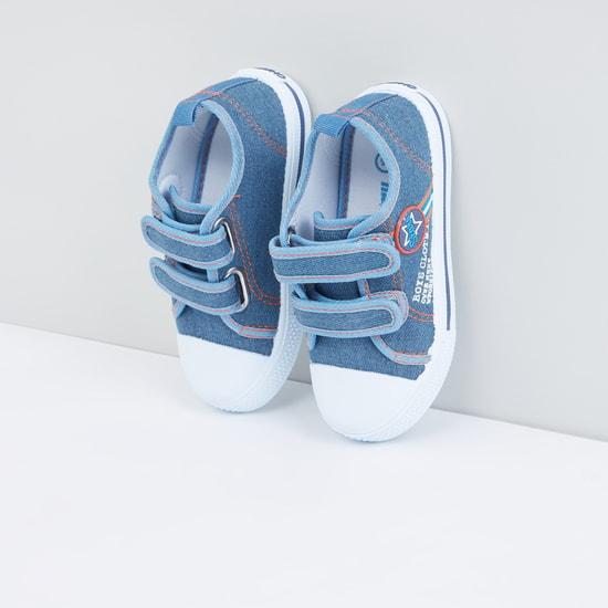 Textured Denim Sneakers with Hook and Loop Closure