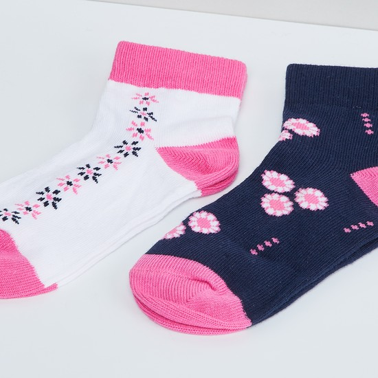 MAX Woven Design Ankle Lenght Socks- Pack of 2 - 5-7Y