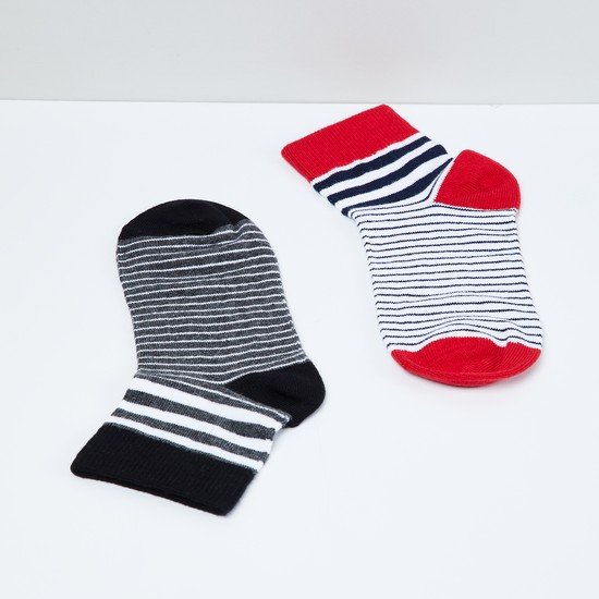 MAX Striped Ankle-Length Socks - Pack of 2 - 7-10Y