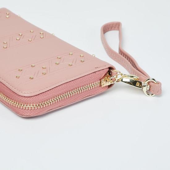 MAX Textured Studded Zip-Around Wallet