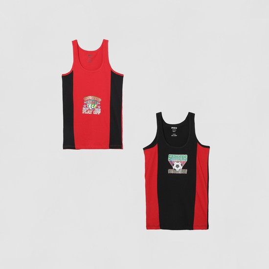 MAX Colourblocked Patch Print Vest - Pack of 2