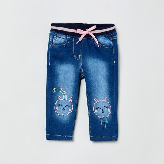 MAX Appliqued Drawstring Waist Slim Fit Jeans