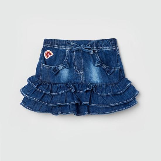 MAX Stonewashed Ruffle Detailed Skirt