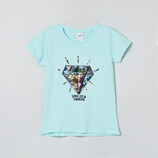 MAX Typographic Print Sequinned T-shirt