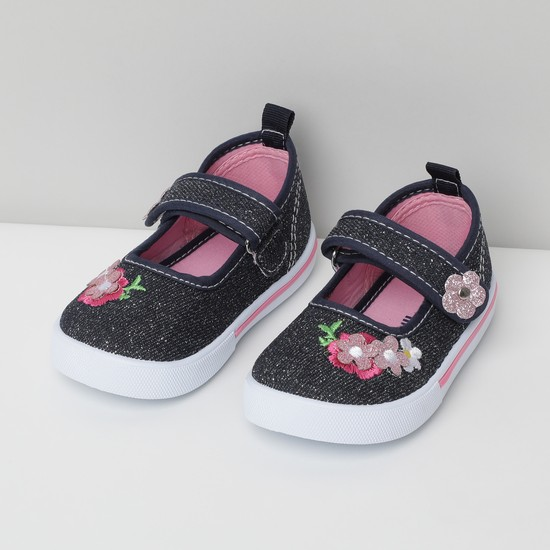 MAX Textured Mary Janes with Floral Applique