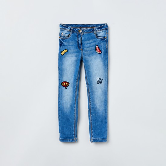 MAX Stonewashed Applique Detail Slim Fit Jeans