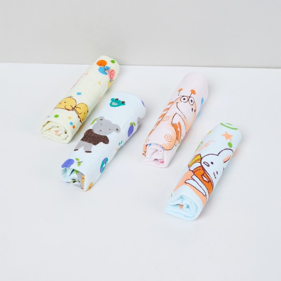 MAX Printed Cotton Face Towels - Pack of 4 Pcs.