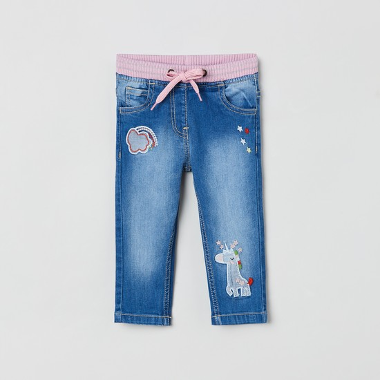 MAX Applique Slim Fit Jeans with Drawstring Waist